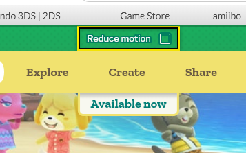 Screenshot of the animal crossing website showing the reduce motion toggle